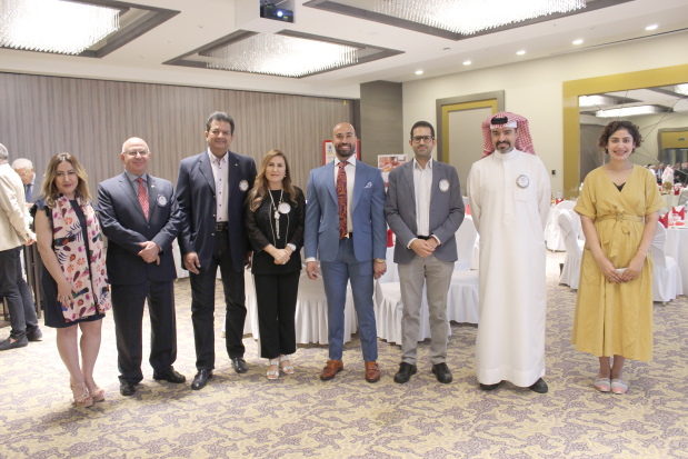 <p>The Rotary Club of Salmaniya hosted Bahraini fitness expert Faris Al Kooheji at its regular lunch meeting at the Golden Tulip Hotel. Mr Al Kooheji, the chief executive of Spartan Fitness Bahrain, spoke about his experience of training special needs children, underlining the need for a healthy lifestyle. Club president Shaikh Abdulla bin Khalid Al Khalifa presented Mr Al Kooheji with a memento. Above, Mr Al Kooheji, fifth from left, and Shaikh Abdulla, second from right, with club members at the event. </p>