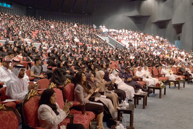 More than 6,000 new students were welcomed at Bahrain University for the 2018-2019 semester. A two-day orientation was held for the students at the university's Sakhir campus. The  event also featured a services fair, which showcased the university's psychological and social counselling, student activities, transportation services, and services for people with disabilities, introductions to the language centres, exemption systems and partial employment. The new students were also given tours of the university's various buildings and centres during the orientation. University president Dr Riad Hamza, dean of student affairs Dr Osama Jowder and vice-president for academic studies Prof Waheeb Nasser addressed the students. Above, students and officials at an orientation lecture.