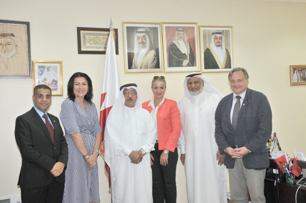 Muharraq Municipal Council chairman Mohammed Al Sinan yesterday met members of the Bahraini Bosnian Friendship Society at his office in the Muharraq Municipality in Busaiteen. The meeting chaired by businessman Jawad Al Hawaj focused on opening channels in agriculture and municipal investment between both countries. Society vice-chairman Riyadh Yousif revealed plans for mutual exchanges between productive families in both countries. Above, Mr Al Sinan, second from right, Mr Al Hawaj, third from left, and Mr Yousif, left, with other society members.