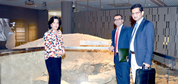 Bahrain Authority for Culture and Antiquities (Baca) president Shaikha Mai bint Mohammed Al Khalifa yesterday met Bahrain Credit chief executive Adel Hubail at Bahrain National Museum. They discussed co-operation to boost cultural momentum in Bahrain. They also visited the mounds hall at the museum, which was opened by Baca last June after being renovated thanks to the support of many parties, including Bahrain Credit.