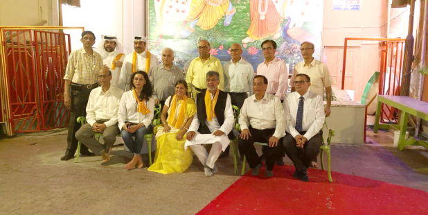 Nobel Peace laureate and children's rights activist Kailash Satyarthi visited the 200-year-old Shri Krishna Temple in Manama along with his wife and other dignitaries. He was received by honorary vice-chairman of the Thattai (Bhatia) Hindu Community (which manages the temple) Bhagwan Asarpota and other executive committee members. Mr Satyarthi was in Bahrain as part of a high-profile delegation of Nobel Peace laureates. Other members included former South African president Frederik de Klerk, former Polish president Lech Walesa, former East Timor president Jose Ramos-Horta and UN Under-Secretary General and former UN Human Settlements Programme executive director Anna Tibaijuka. Above, Mr Satyarthi at the temple with officials and dignitaries.