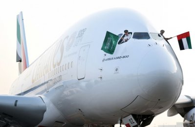 Emirates celebrates Saudi National Day with A380 flight