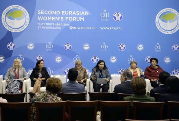 <p>A Supreme Council for Women (SCW) delegation presented Bahrain's achievements of Sustainable Development Goals during a high-profile session at the Second Eurasian Women's Forum in St Petersburg, under the theme 'Global Initiatives in Women's Progress'. SCW policies and development director general Shaikha Dina bint Rashid Al Khalifa made the presentation 'Bahraini Women and the Sustainable Development Goals'.</p>