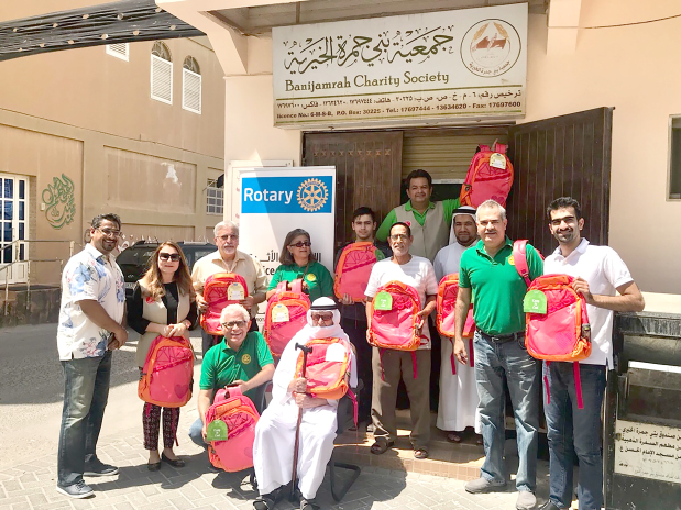 <p><em>Volunteers at Bani Jamra Charity Society</em></p><p>Six hundred school bags were distributed to a number of charities in Bahrain jointly by the Rotary clubs of Salmaniya, Adliya and Manama and the Rotaract Club of Bahrain, under the theme 'Children are our Future'.</p><div>The beneficiary charities included Barbar Charity Society, Al Sanabel Orphan Care Society, Tree of Life Charity Society, Riffa Women Cultural and Charity Society, Batelco Child Welfare Home, Budaiya Charity Society, Al Hedaya Society in Riffa, Capital Charity Association and Bani Jamra Charity Society.</div><p><em><br></em></p>