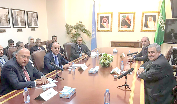 <p>Foreign Minister Shaikh Khalid bin Ahmed Al Khalifa yesterday took part in a consultative meeting of foreign ministers in New York, prior to the 73rd session of the General Assembly. Foreign Ministers of Saudi Arabia, the UAE, Egypt and Jordan attended. The meeting aimed at activating Arab role in dealing with various crises in the region.</p>