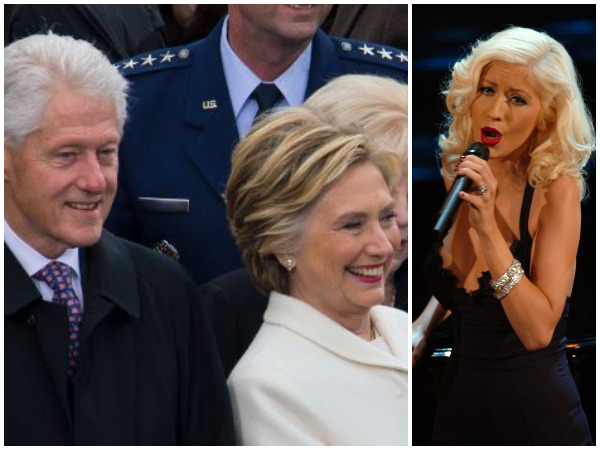 Bill and Hillary Clinton attend Christina Aguilera concert