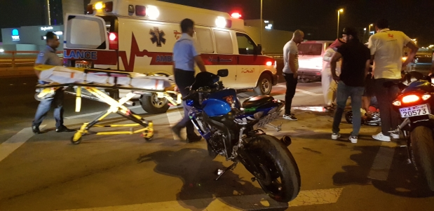 Bahraini biker injured in collision with car