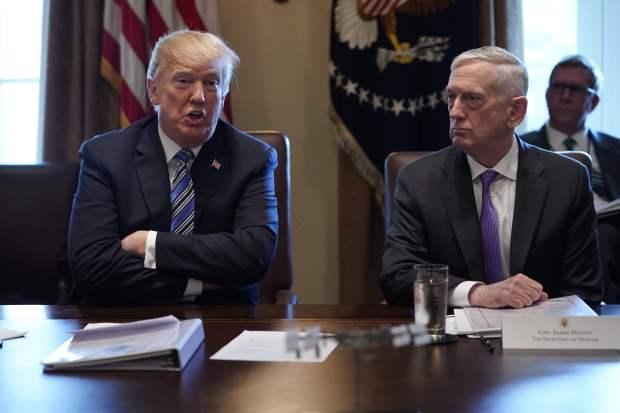 "Trump tells Mattis he is 100 pct behind him after ""Democrat"" jab"
