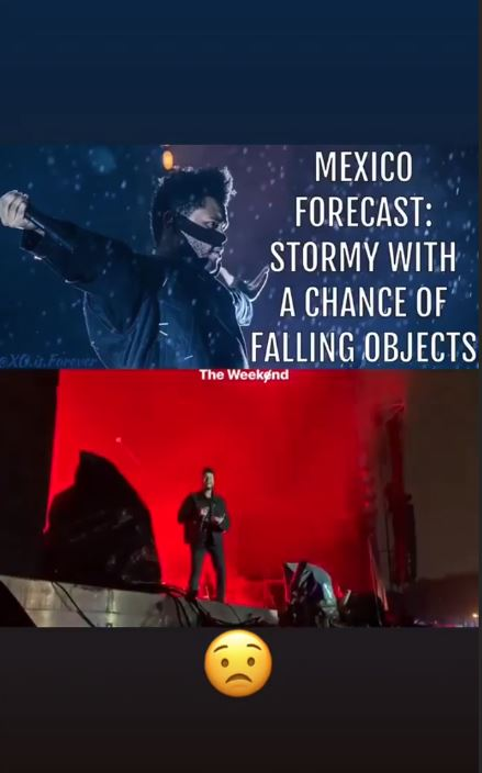The Weeknd narrowly avoids getting hit by stage equipment