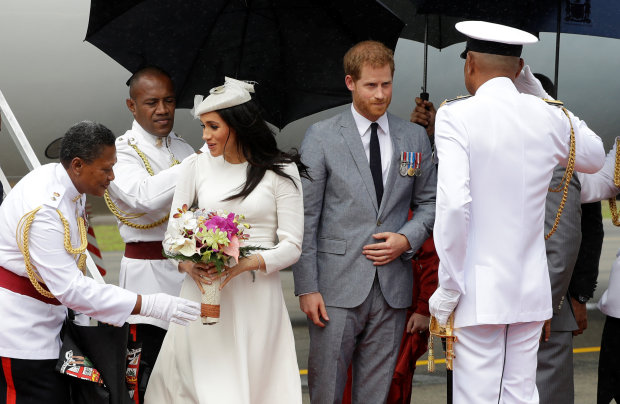 PICTURES: Harry and Meghan arrive in Fiji in British royals' first visit since 2006 coup