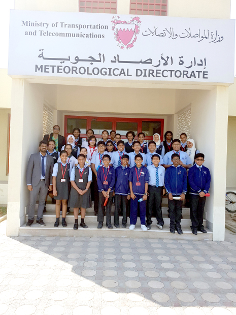 <p>Students from the Bahrain Indian School (BIS) visited the Meteorological Directorate as part of their curriculum. The grade seven and eight students toured the facility, were briefed on the directorate's role and had a look at the radar and satellite imagery equipment used to measure weather conditions. Above, the students outside the directorate.</p>