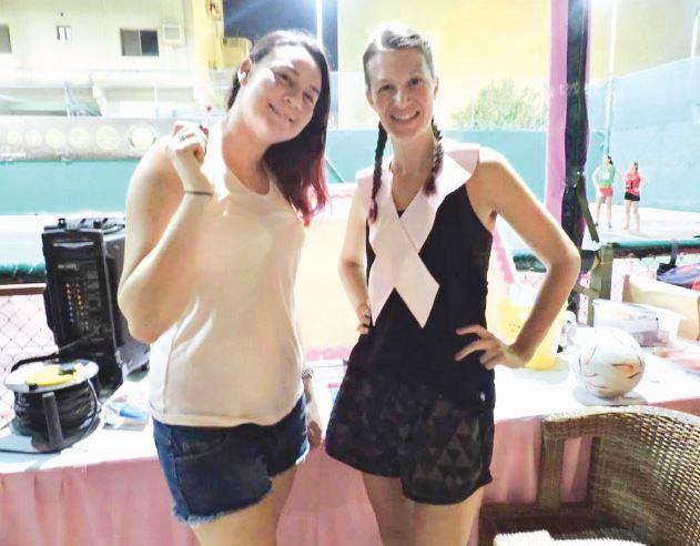 <p>League committee members in pink.</p>