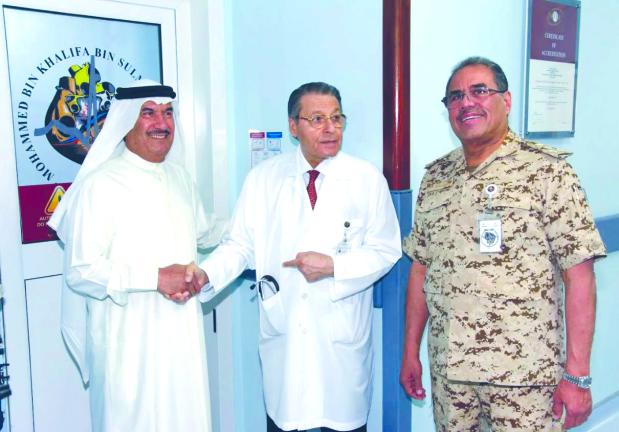 Two Continuous Renal Replacement Therapy machines and consumables for the Prismaflux Dialysis System were donated to the BDF's Mohammed Bin Khalifa Bin Salman Al Khalifa Cardiac Centre by the Bahrain Ship Repairing and Engineering Company (Basrec). At the presentation ceremony are, from left, Basrec director Khaled Abdulrahman, centre director Dr Risan Al Badran and consultant cardiologist Brigadier Dr Fuad Saeed.