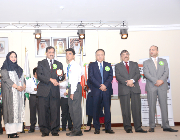 <p>Twenty-five Pakistan Urdu School students were honoured at the annual merit certificate ceremony for middle school. Guest of honour Pakistani Ambassador Afzaal Mahmood distributed the certificates and shields. Chairman Saleem Asghar Ali, board of trustees members and academic chairman Dr Salim Akhter attended. At the ceremony are, from left, assistant principal Farzal Rasool, Mr Mahmood presenting an award to a student, Mr Ali, Mr Akhter, and trustees board member Saad Asghar.</p>