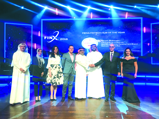 <p>Team Bahrain, represented by the Central Bank of Bahrain (CBB), the Economic Development Board and Bahrain Fintech Bay, has won an award for its initiatives in fintech.</p> <p>The Mena Fintech Hub of the Year Award for Bahrain was conferred by Fintech Galaxy, a digital crowdfunding platform, in association with Entrepreneur Middle East, a flagship regional business magazine, during FinX 2018 in Dubai.</p> <p>The award recognises excellence in creating an active and innovative fintech ecosystem, involving a joint effort between the regulator, banks, accelerators, and investors.</p> <p>The award was received on behalf of Team Bahrain by CBB Governor Rasheed Al Maraj.</p>