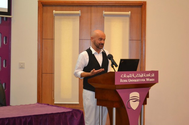 <p><em>Mr Di Nicola speaking during the lecture</em></p><p>European Institute of Design Professor Fabio Di Nicola spoke on 'Web and Social Media Influences on Fashion Design and Communication' at the Royal University for Women (RUW), Riffa.</p><p>The lecture was part of Italian Week being celebrated at the university to mark the memorandum of understanding on the Italian language signed between the Italian Embassy and the RUW.</p><p>The lecture was attended by Italian Ambassador Domenico Bellato, students, and members of the Italian community.</p><p><em><br></em></p>