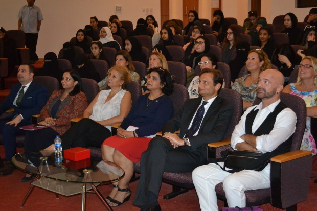 <p><em>Mr Bellato, second from right, Mr Di Nicola, right, and RUW academic vice-president Dr Mona third from left, at the event</em></p>
