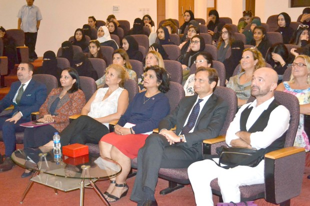 <p>European Institute of Design Professor Fabio Di Nicola spoke on 'Web and Social Media Influences on Fashion Design and Communication' at the Royal University for Women (RUW), Riffa. The lecture was part of Italian Week being celebrated at the university to mark the memorandum of understanding on the Italian language signed between the Italian Embassy and the RUW. The lecture was attended by Italian Ambassador Domenico Bellato, students, and members of the Italian community. Above, Mr Bellato, second from right, Mr Di Nicola, right, and RUW academic vice-president Dr Mona third from left, at the event.</p>