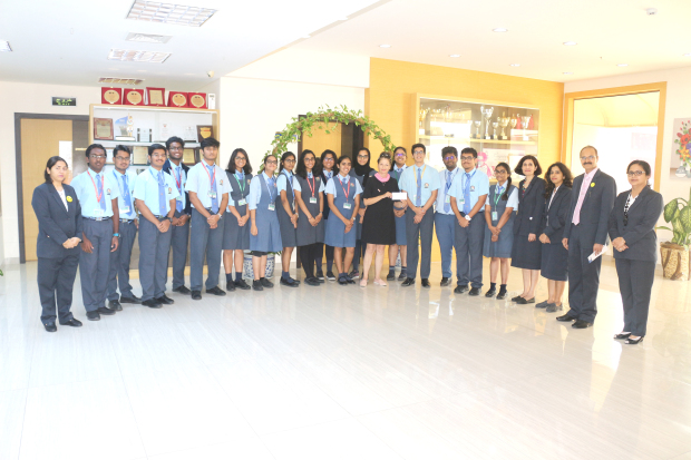 <p>Students from the New Millennium School-DPS Bahrain donated BD300 to the Think Pink Bahrain breast cancer charity. The funds were raised during a drive at the 2018 New Millennium Model United Nations Conference. Around 250 delegates from five schools in Bahrain took part in the conference. Above, students and officials who took part in the charity drive.</p>