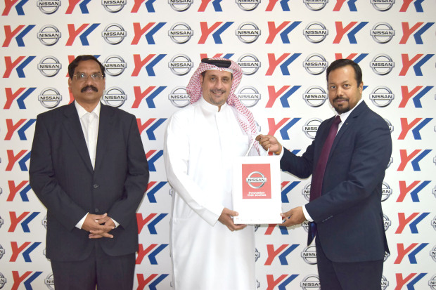 <p>Hassan Al Arab and Ahmed Salman Matar were announced by Y K Almoayyed and Sons as winners of the Nissan Bahrain 'Test Drive and Win' promotion. The campaign, which ran from August 19 until September 30, offered customers the chance to win a new iPhone X (64GB) by test-driving any Nissan model at the Sitra and Arad showrooms. The winners were picked by an Industry and Commerce Ministry representative at raffle draws held at the showrooms. Above, Y K Almoayyed senior fleet manager P Mohanty, right, presents Mr Al Arab with his gift as Y K Almoayyed group corporate purchase and logistic senior manager Srinivasu K looks on. </p>
