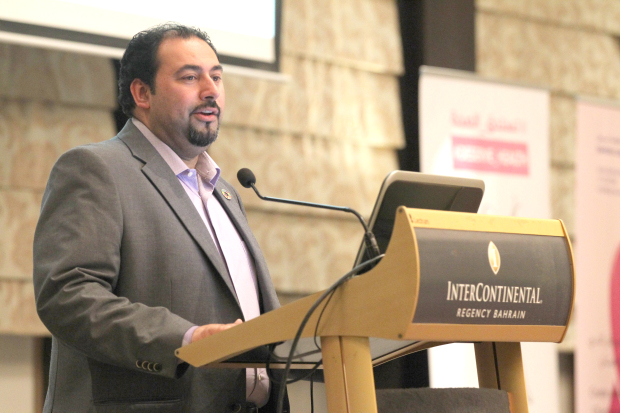 <p>The Global Social Media Club, Bahrain chapter organised a breast cancer awareness event, in co-operation with the Bahrain Cancer Society. 'Deserve Health' was held under the patronage of Health Minister Faeqa Al Saleh at the InterContinental Regency Bahrain, and was aimed at raising awareness by identifying symptoms and treatment. Above, a speaker at the event.</p>