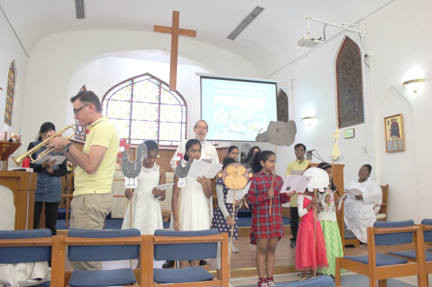 <p>A  family service was held at St Christopher's Cathedral, Manama exploring the story of Noah in music, song and drama. </p>