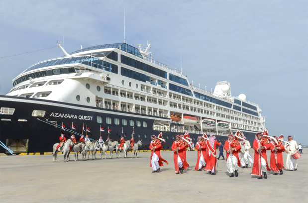 <p><em>The band performs</em></p><p>Bahrain's cruise season has started on a high note with the first cruise ship, Azamara Quest, arriving with more than 600 tourists to Khalifa Port yesterday.</p><p>The season will continue until May. The passengers were welcomed by the Nationality Passport and Residence Affairs and treated to a performance by the Police Band and other activities by the Mounted Police.</p><p><br></p>
