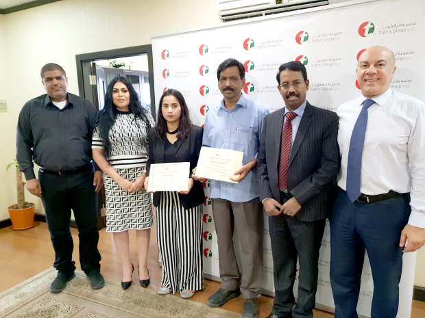 Trafco Group has named storekeeper Kavile Valappil Rajan and sales co-ordinator Seham Sami Abdali as best employees of September and October, respectively. They were presented with a monetary reward and a certificate of appreciation during a ceremony attended by chief executive S Sridhar, human resources manager Layla Darwish, sales manager Azzam Moutragi and acting sales manager Wael Ahmed. At the presentation are, from left, Mr Ahmed, Ms Darwish, Ms Abdali, Mr Rajan, Mr Sridhar and Mr Moutragi.
