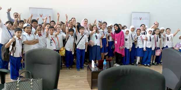 Students from Al Hekma International School, Sanad visited the Industry, Commerce and Tourism Ministry to learn about Internet safety. They were introduced to the hazards and benefits while also learning to be safe online. The students also took part in a competition called 'E-commerce and Safe Internet' as part of their field trip. Above, the students during their trip.