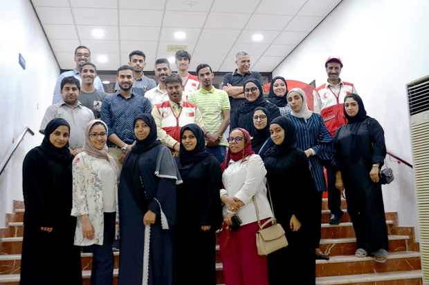 A new batch of volunteers have received training on humanitarian and relief work. The programme, organised by the Bahrain Red Crescent Society, included three basic workshops focused on the principles of international movement, international humanitarian law and first aid principles. Above, the volunteers with trainers at the event.