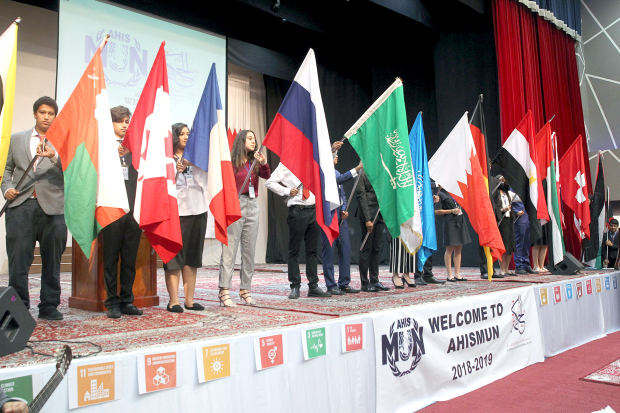 <p>Around 250 students spoke about Sustainable Development Goals (SDGs) at a model United Nations session yesterday. A number of schools from Bahrain took part in the Al Hekma International School Model United Nations. Guests of honour were German Ambassador Kai Boeckmann, his wife Samira Rofa and UN Development Programme resident co-ordinator and regional representative Amin Al Sharkawi. The two-day forum will conclude today at the school campus in Sanad. Above, participants. </p>
