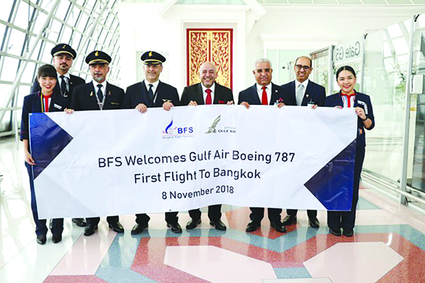 <p>Gulf Air, Bahrain's national carrier, celebrated the arrival of its Boeing 787-9 Dreamliner inaugural flight to Bangkok, which will now operate permanently on the airline's direct daily flights between Bahrain and the Thai capital. Bahrain's Ambassador to Thailand Ahmed Abdulla Alhajeri, and Ghassan Ahmed Almuharaqi, deputy head of mission of Bahrain in Thailand, attended the event. Gulf Air's country manager in Bangkok Khalid Ahmed Abdulrahman and top civil aviation and airport executives were present.</p>