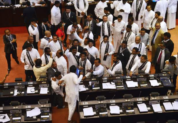 Sri Lanka grinds to a halt as parliament descends into chaos