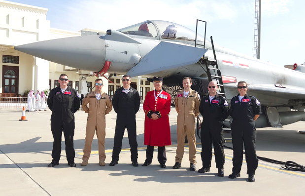 <p>Below, right, Mr Henry, centre, with the Typhoon Display team during the Bahrain International Airshow.</p>