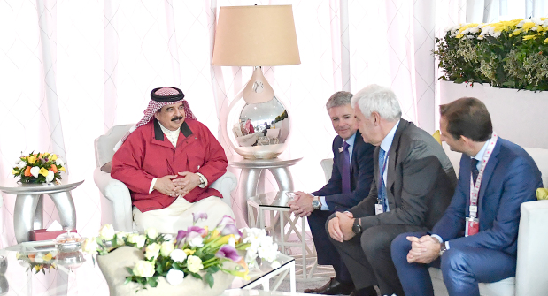"<p>His Majesty yesterday received at Sakhir Airbase Lockheed Martin customer relations vice-president Gary North; BAE Simulator senior military adviser Sir Andrew Pulford; Leonardo chief executive Alessandro Profumo; Gulfstream's Tim Wood; Bell CEO Mitch Snyder; and Bell's Sameer Rahman. He welcomed their participation in the air show, which ""accentuates the advanced relations between Bahrain and top companies"".</p>"