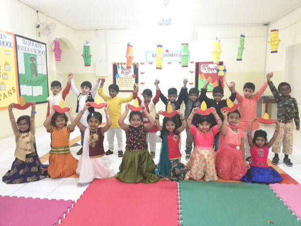 <p>The Bahrain Indian School – Bhavans celebrated Diwali with special assemblies featuring dances, speeches and songs. The school was decorated with lanterns and 'diyas' to mark the occasion and sweets were distributed to staff by school director Ritu Verma and principal Saji Jacob. Above, some of the students at the celebration.</p>
