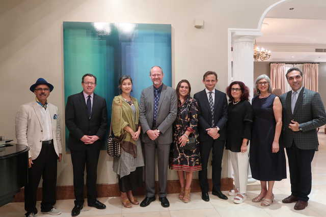 US Ambassador Justin Siberell hosted a reception in honour of American artist Bernadette Frank at his residence in Saar