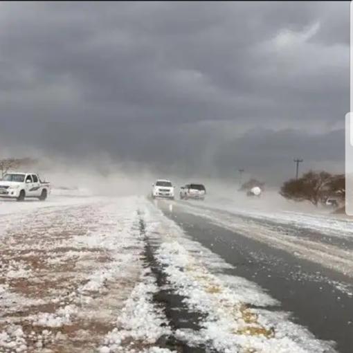 PHOTOS: Snow and hailstones lash Al Jouf province