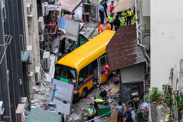 Three killed as Hong Kong schoolbus mounts pavement, trapping passers-by
