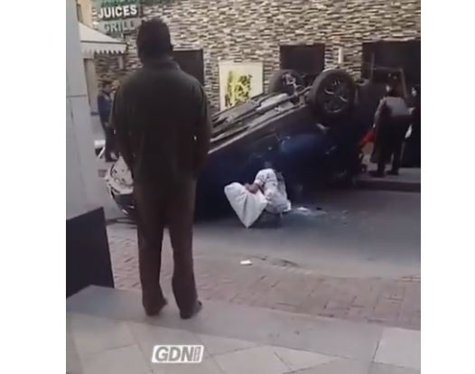 VIDEO: Car overturns in accident near Yateem Centre