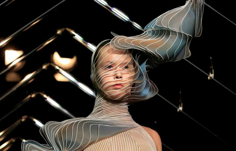0983993721d A model presents a creation by designer Iris Van Herpen as part of her  Haute Couture Fall Winter 2018 2019 show in Paris