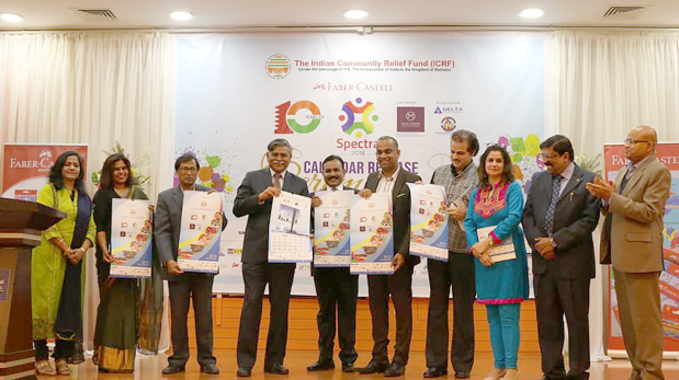 "A total of 10,000 calendars featuring selected paintings from an art carnival conducted by the Indian Community Relief Fund (ICRF) have been released. The paintings were the winning entries from the largest drawing competition, The Faber Castell Spectra 2018, which featured more than 4,000 children from various schools in Bahrain. The calendars, which will be distributed for free to schools, were released by Indian Ambassador Alok Kumar Sinha during an event held at the Swiss International Hotel, Seef, which was also attended by the embassy's second secretary Renu Yadav, ICRF chairman Aruldas Thomas, vice-chairman Dr Babu Ramachandran, general secretary Mehru Vesuvala, competition sponsors and community members. A desktop calendar featuring paintings by adults on the theme ""150 years of the Mahatma"", marking the 150th birth anniversary of Mahatma Gandhi, was also released at the event. Above, Mr Sinha, fourth from left, with ICRF officials at the calendar launch."