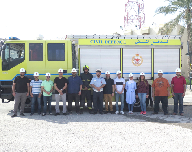 A training course on fire safety was held by CrediMax in co-ordination with the Civil Defence. The three-day training targeted the company's fire warden team and was held at the Civil Defence School in East Riffa. The training covered fundamental fire hazard overview and first aid training along with a simulation exercise. Above, the CrediMax team with officials at the school.