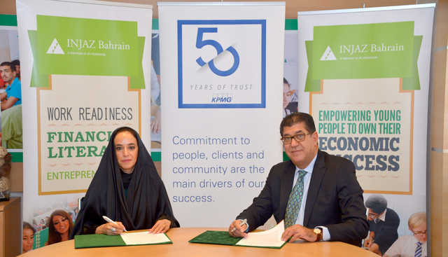 <p>INJAZ Bahrain chairwoman Shaikha Hessa bint Khalifa Al Khalifa and KPMG in Bahrain managing partner Jamal Fakhro have signed a memorandum of understanding to support INJAZ Bahrain's programme digitalisation, annual impact assessment and volunteering opportunities – to help create a better future for Bahraini youth. Above, Shaikha Hessa and Mr Fakhro sign the memorandum.</p>