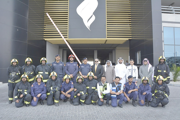 The Civil Defence held a joint exercise in association with various directorates of the Interior Ministry aimed at ensuring readiness to respond swiftly to security threats at high-rise buildings in Juffair. The drill also sought to evaluate the strengths and weaknesses of fire-fighting and rescue operations. Above, firemen and officials at the event.