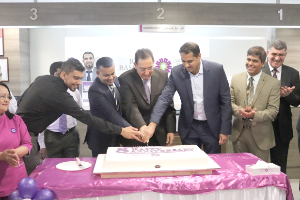 Royal Bahrain Hospital celebrated its eighth anniversary with a cake-cutting ceremony attended by president Ahmed Jawahery, chief executive Sheriff Sahadulla and other officials at the hospital in Manama. Above, hospital officials at the event.