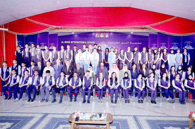 <p><em>The student council with staff and management members</em></p> <p>Newly-elected members of the students council of Al Noor International School for 2018-2019 were sworn in at a ceremony at the school's campus in Sitra. Attending were school director Dr Muhammad Mashood, principal Amin Hulaiwah, head teachers and students of selected classes.</p> <p>The 63-member council was led on stage by head boy Fahad Abdullatif and head girl Yusra Zahar who pledged to work in line with the school's vision and mission. Right, the student council with staff and management members.</p>