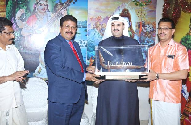 <p><em>Shaikh Khalifa is welcomed in traditional Kerala style with a memento.</em></p> <p>The Crown Prince's Court president Shaikh Khalifa bin Daij Al Khalifa visited Iringal Ayyappa Temple, Salmaniya with Al Namal and VKL Group chairman Dr Varghese Kurain.</p>