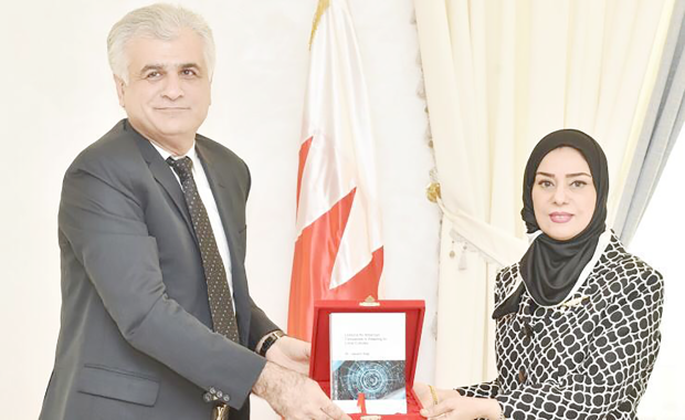 <p>Parliament speaker Fouzia Zainal received Bahraini management researcher and author Dr Jassim Haji, who presented his latest book on organisations' culture and lessons to Western corporates operating in the Arabian Gulf with cultural differences.</p>