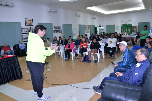<p><em>De Sousa with the participants.</em></p> <p>The Bahrain Tennis Club hosted a workshop at its premises for players' parents.</p> <p>The workshop, conducted by International Tennis Federation tennis consultant Luis De Sousa,focused onways to deal with players at different ages, the right training balls and proper nutrition.</p>